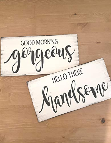 Tamengi Sign Set of 2 Hello There Handsome Good Morning Gorgeous Wood Signs Art Bedroom Decor White Black Farmhouse Vintage Gift for Couple 4'