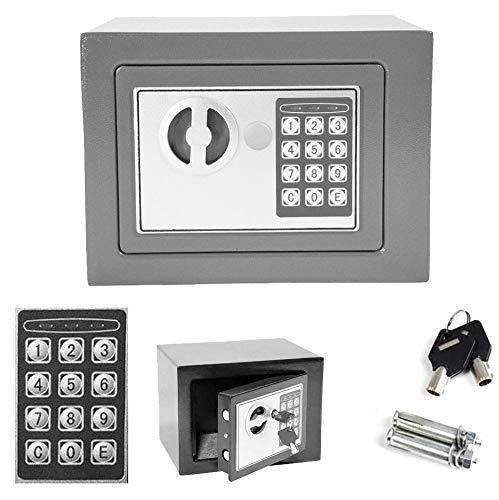 YLLN (23x17x17 cm Contraseña electrónica Seguridad Caja Fuerte Dinero Caja de depósito en Efectivo Oficina Seguridad en el hogar Mini 4.6L Cajas de Seguridad Grises