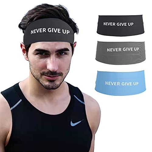 Bandas para la cabeza de deportes que absorben la humedad, banda antideslizante para el sudor para el entrenamiento que absorbe el sudor, banda para correr, nunca se da (3 paquetes)
