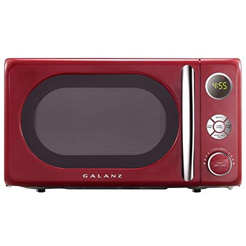 Galanz GLCMKA07RDR-07 Microwave Oven, LED Lighting, Pull Handle Design, Child Lock,Retro Red (Renewed)