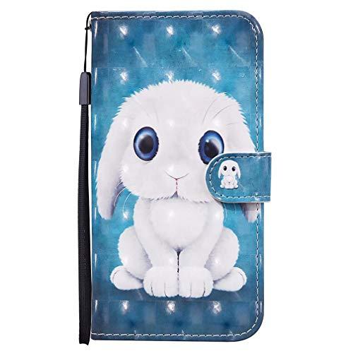 TTNAO Schutzhülle für Samsung Galaxy A52 (5G), 3D-Optik, Leder, Magnetverschluss, Standfunktion, Brieftasche, Klappdeckel mit Kartenfächern, inkl. 1 x Displayschutzfolie (Kaninchen)