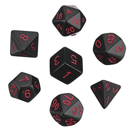 Polyedrische 7- Würfel- Set für Dungeons und Dragons mit Schwarz Beutel (Schwarz)