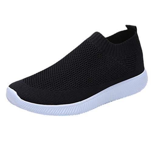 MRULIC Damen Laufschuhe Outdoor Mesh Lässige Sportschuhe Atmungsaktive Schuhe Turnschuhe Sneakers Leichte Gestrickte Schuhe Racer Fitnessschuhe (Schwarz,EU-40/CN-41)