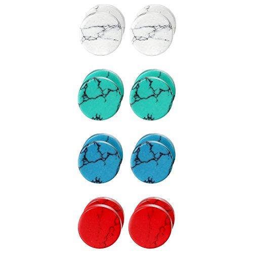 Cupimatch Stein Hantel Ohrstecker 4 Paare Set Unisex Ohrringe für Damen Herren 8mm, Weiß Grün Blau Rot