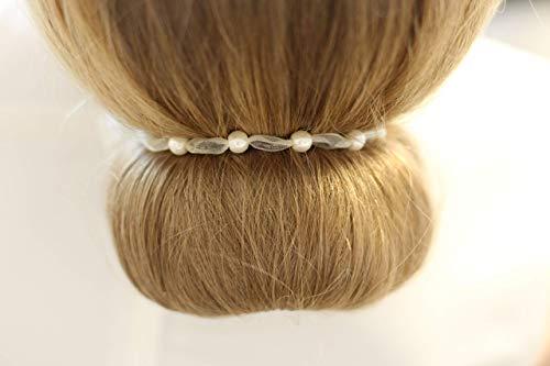 Haarband weiß 5 Perlen 6mm, Kommunion Geschenk Mädchen, Haarschmuck, Dutt, Flechte
