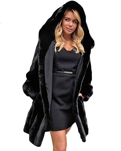 Abrigo De Streetwear con Capucha Sólida Mujer Abrigo De Piel Sintética Caliente Chaqueta Parka De Invierno Negro 4XL