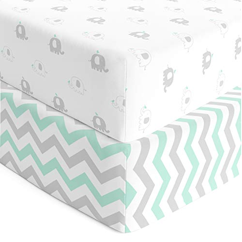 Cuddly Cubs Fitted Crib Sheets Set  2 Pack  Jersey Cotton Crib Mattress Sheets for Baby Boy, Girl Crib  Grey, Mint Green Elephant, Chveron Toddler Bed Sheets  Fits on Standard 28 x 52