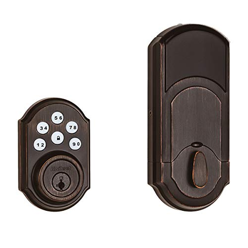 Kwikset 99100-079 SmartCode 910 Traditional Smart Keypad Electronic Deadbolt Door Lock with SmartKey Security and Z-Wave Plus, Venetian Bronze