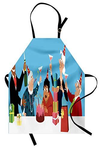 ABAKUHAUS Jubilación Delantal de Cocina, Cake Regalos Champagne, Apto para Uso en Interiores y Exteriores Resiste la Suciedad, Multicolor