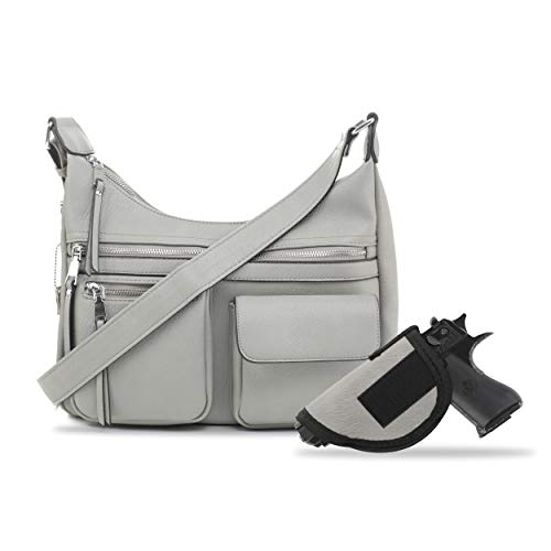 Jessie & James Large Concealed Carry Crossbody Bag For Women Gunbag Shoulder Purse With Detachable Holster Grey