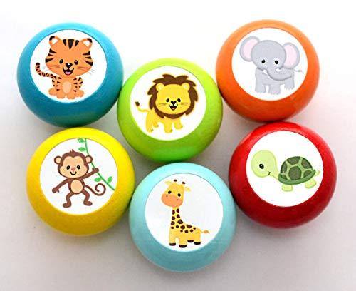 Juego de 6 botones para muebles con diseño de animales de la selva, madera, color petróleo, naranja, amarillo, turquesa, rojo, jirafa, leo, animales, 35 mm, redondo, para niños, sueño