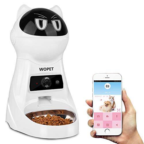 カメラ付き自動給餌器 WOpet ドッグカメラスマホ遠隔自動給餌器見れる話せる犬猫用自動給餌機 ステインレス...