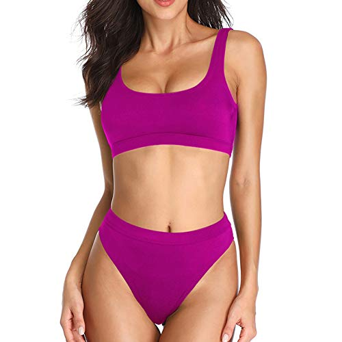 Dixperfect Two Pieces Bikini Sets Swimsuit Sports Style Low Scoop Crop Top High Waisted High Cut Cheeky Bottom (XXL, Hot Pink)