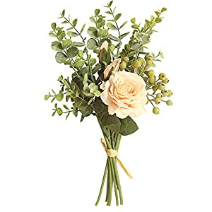 ATBTGTR Artificial Fake Flowers Silk Rose Eucalyptus Leaves Berries Flower Arrangements Wedding Bouquets Decorations Plastic Floral Table Centerpieces (Champagne)