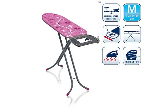 Leifheit Bügeltisch AirBoard Express M Compact 60years Color Edition pink, ideal für Dampfstationen, kompakt zu verstauen, Bügelbrett mit Baumwollbezug, Dampfbügelbrett mit ultraleichter Bügelfläche