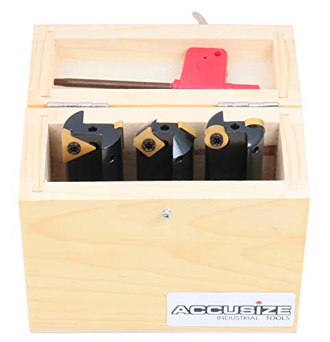 Accusize Industrial Tools 3 Pc Little Hogger End Mill Set, 45 Deg, 90 Deg and 3/16r Mill with 3/4'' Shank, 1'' Head, 0046-0700