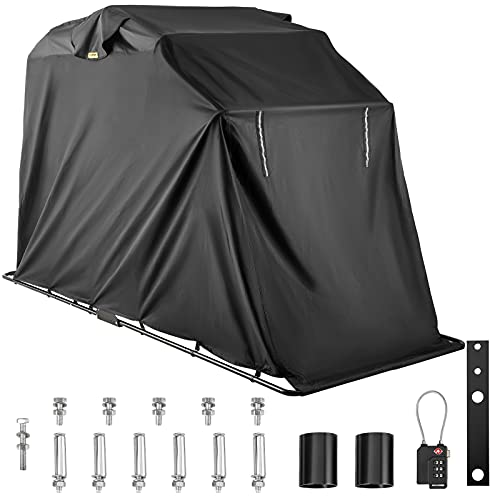 VEVOR Motorcycle Shelter, Waterproof Motorcycle Cover, Heavy Duty Motorcycle Shelter Shed, 600D...