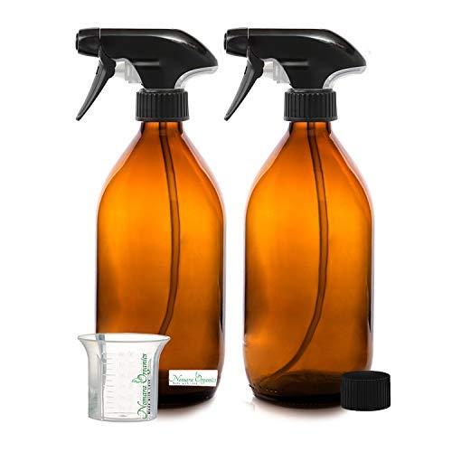 Nomara Organics Botella de cristal de vidrio sin BPA (2 unidades, 500 ml). 2 botellas de cristal de ámbar vacías, recargables, ideales para baño, de belleza, del cabello,de limpieza