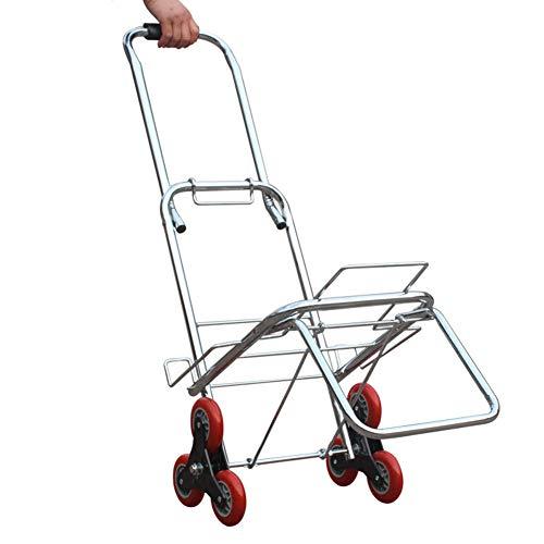 Carritos de la compra Plegable portátil 6 Ruedas, Acero Inoxidable Escalera Escalada Utilidad Mercado Carro Reutilizable Utilidad Rueda Corredor Teniendo Peso 80 kg