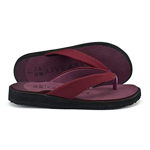 LivEasy Extra Soft Ortho Care Diabetic & Orthopedic Slippers / Doctor Chappal & Footwear with Memory Foam - Women (Cherry, numeric_4)