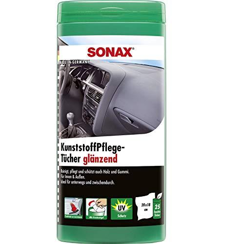 SONAX Plastic onderhoudsdoekjes glanzend doos (25 stuks) vochtige doekjes reinigen, onderhouden en geven glans in één handeling | art.nr. 04121000