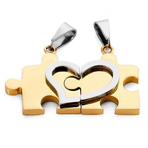 Kim Johanson Halskettingen voor geliefden, van roestvrij staal, puzzel met hartje, goud, incl. sieradenzakje