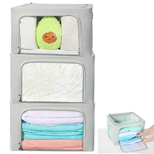 HOUSE AGAIN 3 Pcs Sturdy Storage Bags Stackable Storage BoxesContainers Durable Handles Solid Bottom with Metal Frame for Clothes Bedding - Clear Window with Label Holder and ZipperLarge Grey
