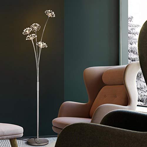 ACHNC LED Stehlampe Kristall,Modern Standleuchte Für Wohnzimmer Schlafzimmer Büro,G4 Stehleuchte Edelstahl Bodenlampe Deko,Silber,5flammige/warmlight