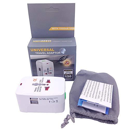 ZUEN Reiseadapter, 2 USB-Anschlüsse - Großbritannien, USA, Australien, Europa All-In-One-Steckeradapter für mehr als 150 Länder und USB-Netzteil für iPhone, Android-Stecker-Steckdose