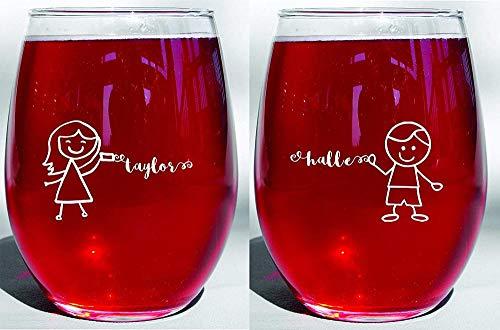 Grabado profundo Amistad de larga distancia BFF Mejor amigo Hermanas Madre Hija Pareja Niño Copas de vino / té Juego de dos
