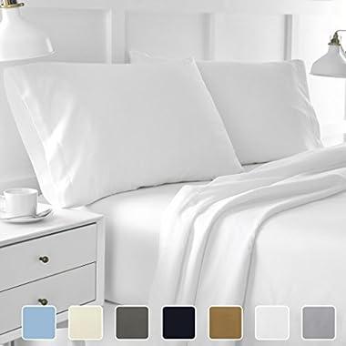 Cottington Lane Bed Sheet Set Queen White 4 pieces 400 TC 100% Cotton Upto 15 Inches Deep Pocket