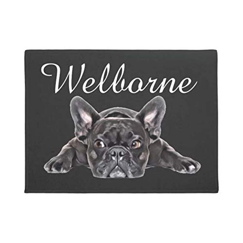 Door Mat 3D Printing French Bulldog Shaped Doormat Fun Carpet Non Woven Fabric Top with A Non Slip Car Black and White Color Welcome Mat Non-Slip Carpet Absorbent Mat