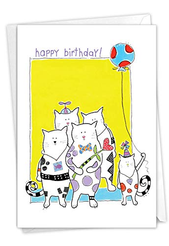 The Best Card Company Cat Scratch - Birthday Greeting Card with Envelope (4.63 x 6.75 Inch) - Kitty Party C3118JBDG