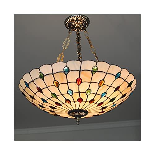 Tiffany Estilo Lámpara Colgante 21 Pulgadas Vidrieras Perlas de Cristal Plafón Hecha a Mano Decoración Luz de Techo 5 x E27 Portalámparas para Comedor Restaurante Sala de Estar