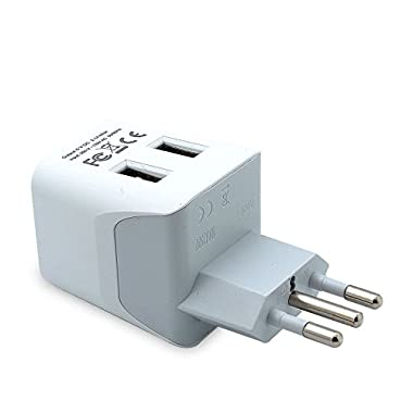 Ceptics CTU-12A USA to Italy Travel Adapter Plug With Dual USB - Type L - Ultra Compact