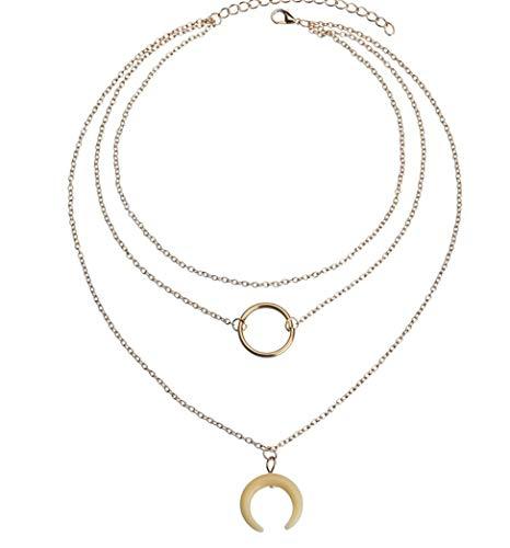MCAdianpu dames halsketting in sieraad persoonlijke metalen cirkel meerlagige halsketting mode eenvoudig omgekeerd Crescent hoorn hanger 3 lagen halsketting
