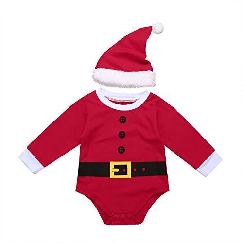 iiniim Peleles Navidad Bebé Niño Niña Recién Nacido Mono Body Infantil Manga Largo Ropa Invierno Fiesta Conjunto Trajes de Santa Mameluco Algodón Christmas Romper