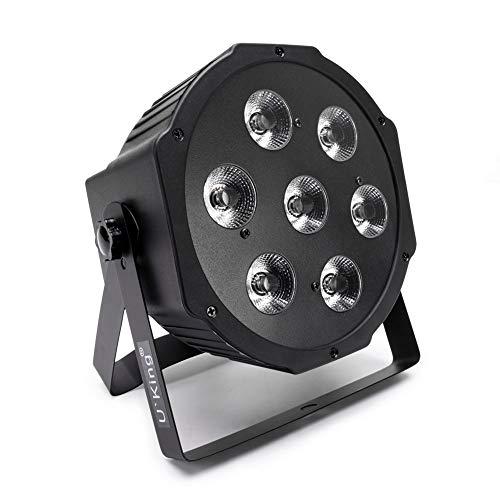 7 RGBW LED Par,UKing Luci Discoteca LED con DMX 7 canali/Auto/Suono Attivato Modalità e 8 Effetti di Luce per la Festa Nuziale Della DJ Disco Wedding Church
