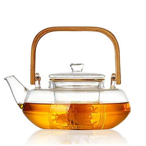 WSLDDD Bambusgriff 800ml Blühende Teekanne Mit Losem Blatt, Glasfilter, Spülmaschine Mit Sicherem Deckel Und Kessel Mit Sicherem Aufsatz