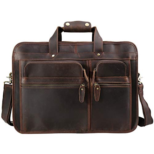 HONGHUIKE Mens Briefcase Leather Business Briefcase Top Layer Leather Men's Bag Crazy Horse Leather 17' Laptop Case (Color : Dark Brown)