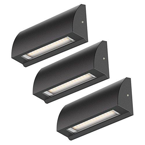 ledscom.de LED Strahler Segin Treppenlicht für innen und außen, flach, Aufbau, schwarz, warm-weiß, 190lm, 3 Stk.