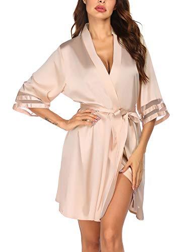 Balancora Bata para mujer, albornoz corto, kimono, túnica de seda, suave, manga 3/4, ropa de dormir champán S