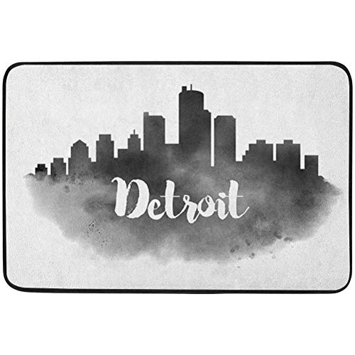 YUAZHOQI Detroit Door mat Outdoors, Smoky City Skyline with Brushstrokes Hand Written Style Letters Buildings, 15.75' x 23.6' Doormat for Wet Paws, Charcoal Grey White