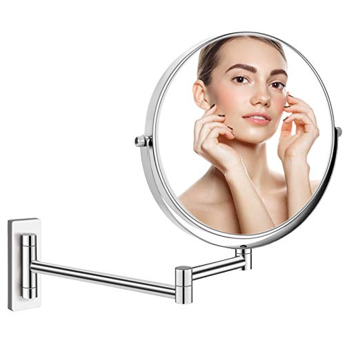 """Professional 8"""" Wall Mounted Makeup Mirror, 1X/10X Magnifying Mirror with Extra Long Extendable Arm, Double Sided Swivel Zoom Mirror for Bathroom, Senior Pearl Nickel Vanity Decoration, Round"""