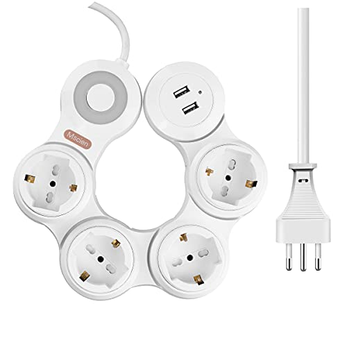 Ciabatta Multipresa Elettrica Mscien 4 Prese 10A e 2 Porte USB, Ciabatta Rotante a 360 ° con Cavo da 1,8 m per Casa e Ufficio (2500 W, bianco)