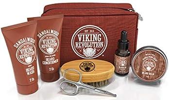 Beard Care Kit for Men Gift- Beard Grooming Kit Contains Travel Size Beard Oil Beard Balm Beard Shampoo & Conditioner Beard Brush and Grooming Scissors - Includes Travel Case  Sandalwood