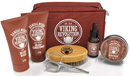 Beard Care Kit for Men Gift- Beard Grooming Kit Contains Travel Size Beard Oil, Beard Balm, Beard Shampoo & Conditioner, Beard Brush and Grooming Scissors - Includes Travel Case (Sandalwood)