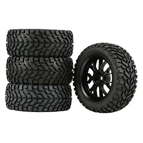 Hellery Neumático de Coche RC, 4 Piezas neumáticos de Ruedas neumáticos de Goma con Cubos para 1/14 1/16 1/18 Escala RC Todoterreno camión
