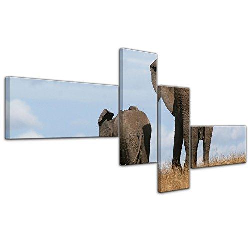 """Bilderdepot24 Cuadros en Lienzo""""Elefante madre y el niño"""" 200x90 cm 4tlg - listo tensa, directamente desde el fabricante"""