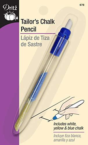 Dritz 678 Tailor's Chalk Pencil (1-Count), White, yellow, blue